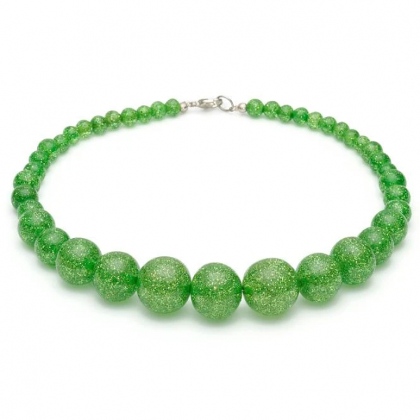 <img class='new_mark_img1' src='https://img.shop-pro.jp/img/new/icons1.gif' style='border:none;display:inline;margin:0px;padding:0px;width:auto;' />【Splendette】Leaf Green Glitter Bead Necklace リーフグリーンビーズネックレス