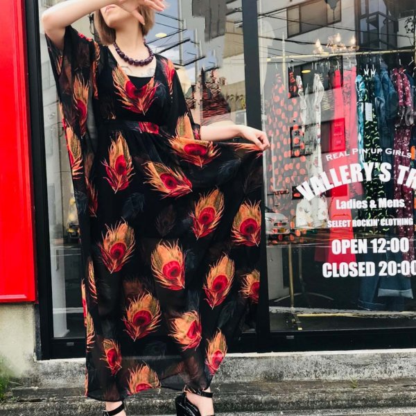 【Unique Vintage】Black & Red Peacock Feather Burton Caftan Dress    カフタンドレス