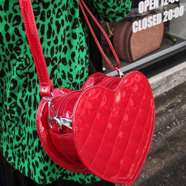 【JAWBREAKER】Dark Heart Red Bag ダークハートエナメルショルダーバッグ