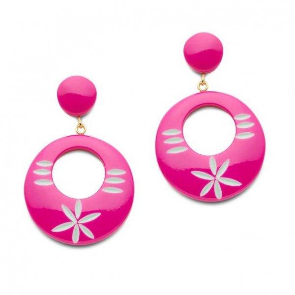 【Splendette】 Flamingo Carved Drop Hoop Earrings ドロップピアス フラミンゴピンク
