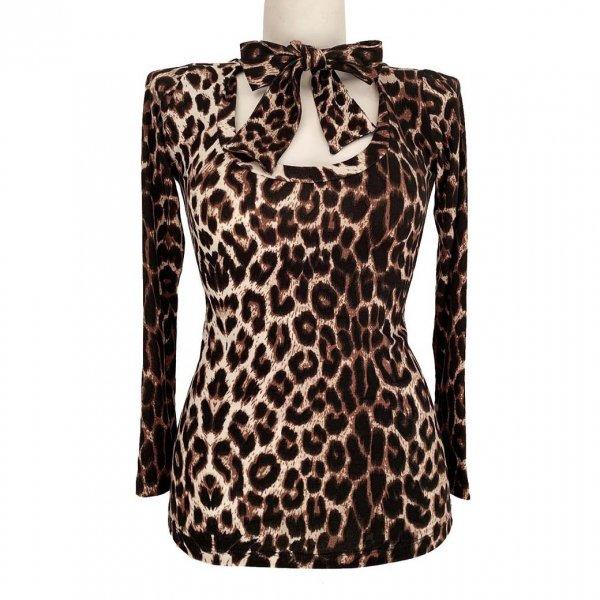 【Bonsai Kitten】Leopard Pussybow Top Long Sleeve レオパードリボンカットソー