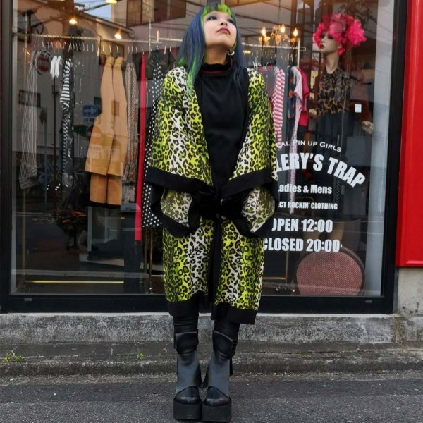 <img class='new_mark_img1' src='https://img.shop-pro.jp/img/new/icons1.gif' style='border:none;display:inline;margin:0px;padding:0px;width:auto;' />【Bonsai Kitten】Green Kitty Vintage Gown ヴィンテージレオパードガウン