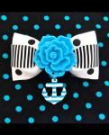 <img class='new_mark_img1' src='//img.shop-pro.jp/img/new/icons24.gif' style='border:none;display:inline;margin:0px;padding:0px;width:auto;' />【Punk Up Bettie】Rockabilly Rose and Striped Anchor Dot Hair Bow Turq Rose