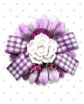 【Punk Up Bettie】Rockabilly Daisy Sparkly Rose Lilac Gingham Bow Hair Flower