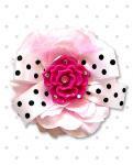 【Punk Up Bettie】Rockabilly Fuchsia Rose Polka Dot Pink Hair Flower