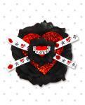 【Punk Up Bettie】Tattoo Glitter Love Heart Rose Hair Flower