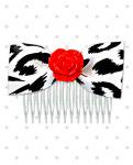 <img class='new_mark_img1' src='//img.shop-pro.jp/img/new/icons24.gif' style='border:none;display:inline;margin:0px;padding:0px;width:auto;' />【Punk Up Bettie】Psychobilly Red Rose White Cheetah Hair Comb