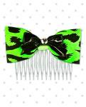 <img class='new_mark_img1' src='//img.shop-pro.jp/img/new/icons24.gif' style='border:none;display:inline;margin:0px;padding:0px;width:auto;' />【Punk Up Bettie】Retro Pinup Black Bow & Cheetah Hair Comb Acid Green