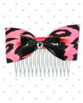 <img class='new_mark_img1' src='//img.shop-pro.jp/img/new/icons24.gif' style='border:none;display:inline;margin:0px;padding:0px;width:auto;' />【Punk Up Bettie】Retro Pinup Black Bow & Cheetah Hair Comb Hot Pink