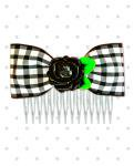 <img class='new_mark_img1' src='https://img.shop-pro.jp/img/new/icons24.gif' style='border:none;display:inline;margin:0px;padding:0px;width:auto;' />【Punk Up Bettie】Rockabilly Country Black Rose & Gingham Hair Comb