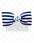 <img class='new_mark_img1' src='//img.shop-pro.jp/img/new/icons24.gif' style='border:none;display:inline;margin:0px;padding:0px;width:auto;' />【Punk Up Bettie】Retro Sailor Cutie Anchor and Stripes Hair Comb Navy