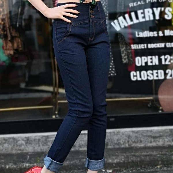 【Collectif】Rebel Kate Denim Jeans Plain Navy