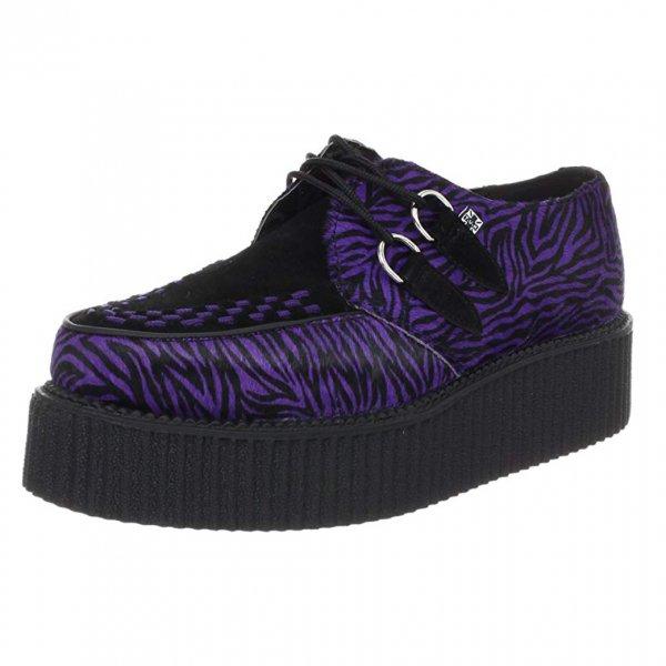 【T.U.K】Purple Zebra Cow-Hair Creeper A8241(サイズ:US3/日本サイズ22cm-22.5cm)