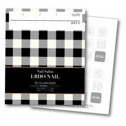 【二つ折りカード】ブラック×ホワイトチェック