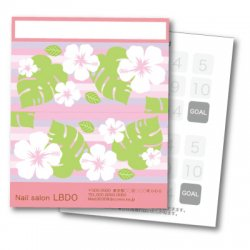 【二つ折りカード】ハイビスカス ストライプ ピンク