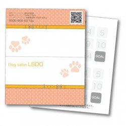 【二つ折りカード】かわいいワンちゃんの足跡&首輪 オレンジ