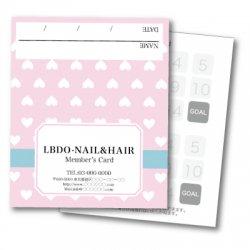 【二つ折りカード】ハート ドット ピンク
