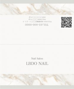 【二つ折りカード】大理石風シンプルライン ホワイト