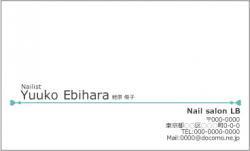 【シンプル名刺】女性らしいビジネスカード(ライン ブルー)