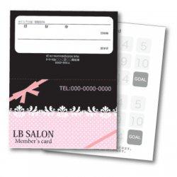 【二つ折りカード】リボン&ドット(ピンク・ブラック)