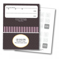 【二つ折りカード】ドット小&ストライプ(ピンク・ブラック)