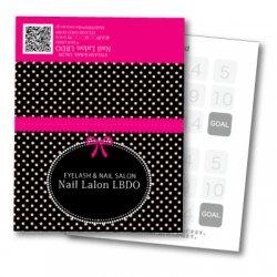 【二つ折りカード】バービー風 ドット×リボン(ブラック・マゼンダ )
