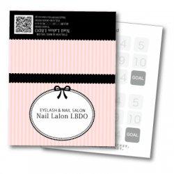 【二つ折りカード】バービー風 ストライプ×リボン(ピンク)