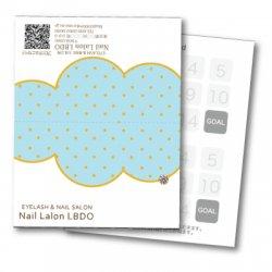 【二つ折りカード】ポップ×雲 ドット(ブルー)
