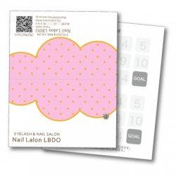 【二つ折りカード】ポップ×雲 ドット(ピンク)