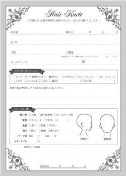 エレガント 美容室用(ヘアサロン・美容院)カルテ(500枚入!)