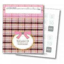 【二つ折りカード】チェック柄 2つ折りテンプレート ピンク