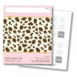 【二つ折りカード】ダルメシアン柄 2つ折りテンプレート ピンク