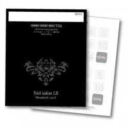 【二つ折りカード】シンプルダマスク柄 2つ折りテンプレート ブラック