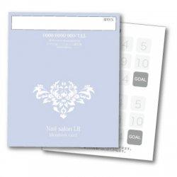 【二つ折りカード】シンプルダマスク柄 2つ折りテンプレート ブルー