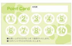 TC572:ペットショップ・トリミング・動物病院などにおすすめ歯のシルエットポイントカード【グリーン】