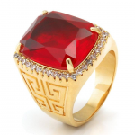 KING ICE (キングアイス) / RUBY CROWN JULZ RING / 14K GOLD PLATED