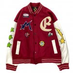 MAISON EMERALD (メゾンエメラルド) / STAR EMBROIDERY BASEBALL JACKET / RED