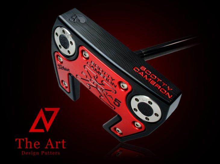 スコッティキャメロン カスタムパター X5 [NEXT] Black & Red Side Face Skull ブラックセンターシャ…