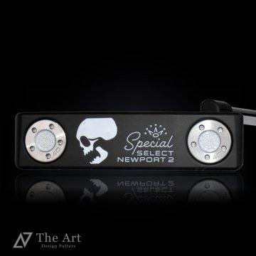 スコッティキャメロン カスタムパター 2020 スペシャルセレクト ニューポート2 [Sideface Skull] ver.S  ブラックメッキ  ツイストネック  3本フランジライン