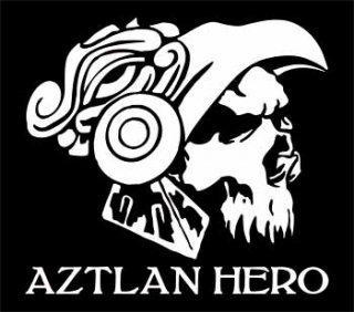 AZTLAN HEROカッティングステッカー ホワイト・ブラック・ブルー・レッド /525円