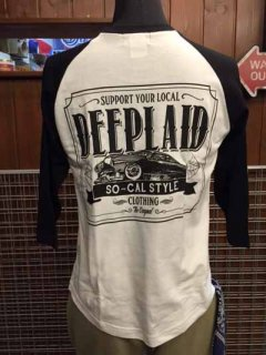 DEEPLAID CLOTHING KUSTOM RIDE 3/4 SLEEVE TEE ディープレイド/4,800円