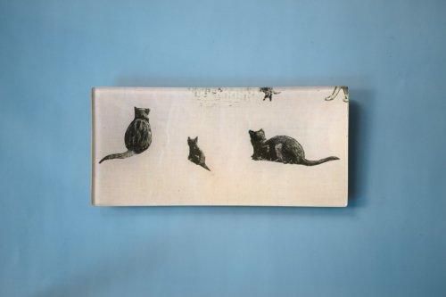 """レクタングルトレイ3.5×7"""" 3匹の猫"""