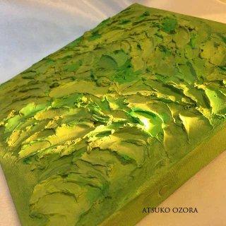 緑のエナジーアート色の絵B−18ンチ×18センチ