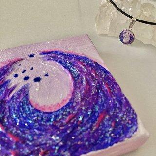 紫色のエナジーアート色の絵A-10センチ×10センチ