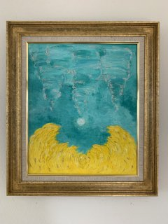 黄色とエメラルドグリーンのエナジーアート色の絵45.5センチ×38センチ