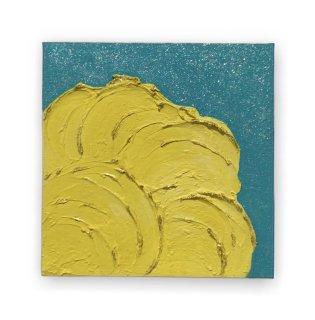 黄色とターコイズ色のエナジーアート色の絵18ンチ×18センチ