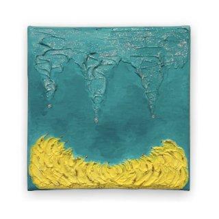 エメラルドグリーンと黄色のエナジーアート色の絵18ンチ×18センチ