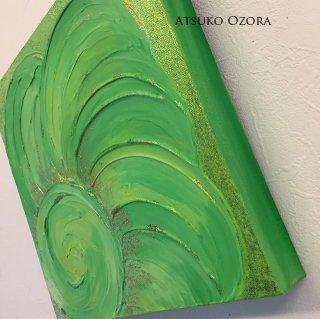黄緑のエナジーアート色の絵−30センチ×30センチ