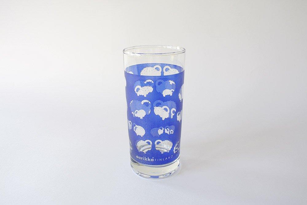 aarikka アーリッカ  空に浮かぶ ひつじの大群ガラスタンブラー 01
