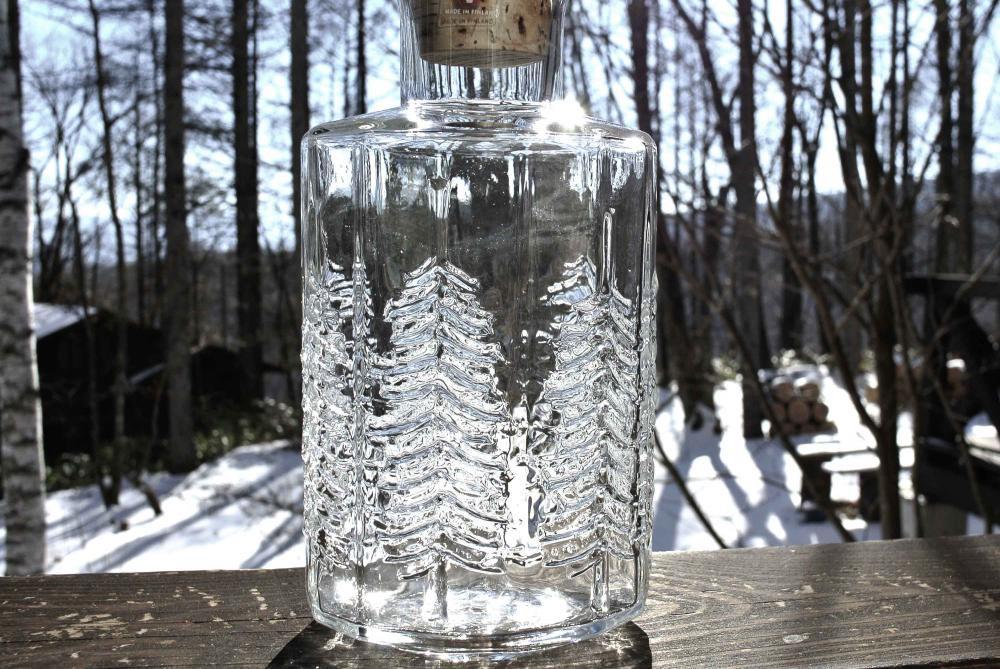"""iittala """"KUUSI"""" Schnapps Glass bottle イッタラ もみの木 ガラスのボトル 1980年代 稀少 再入荷"""